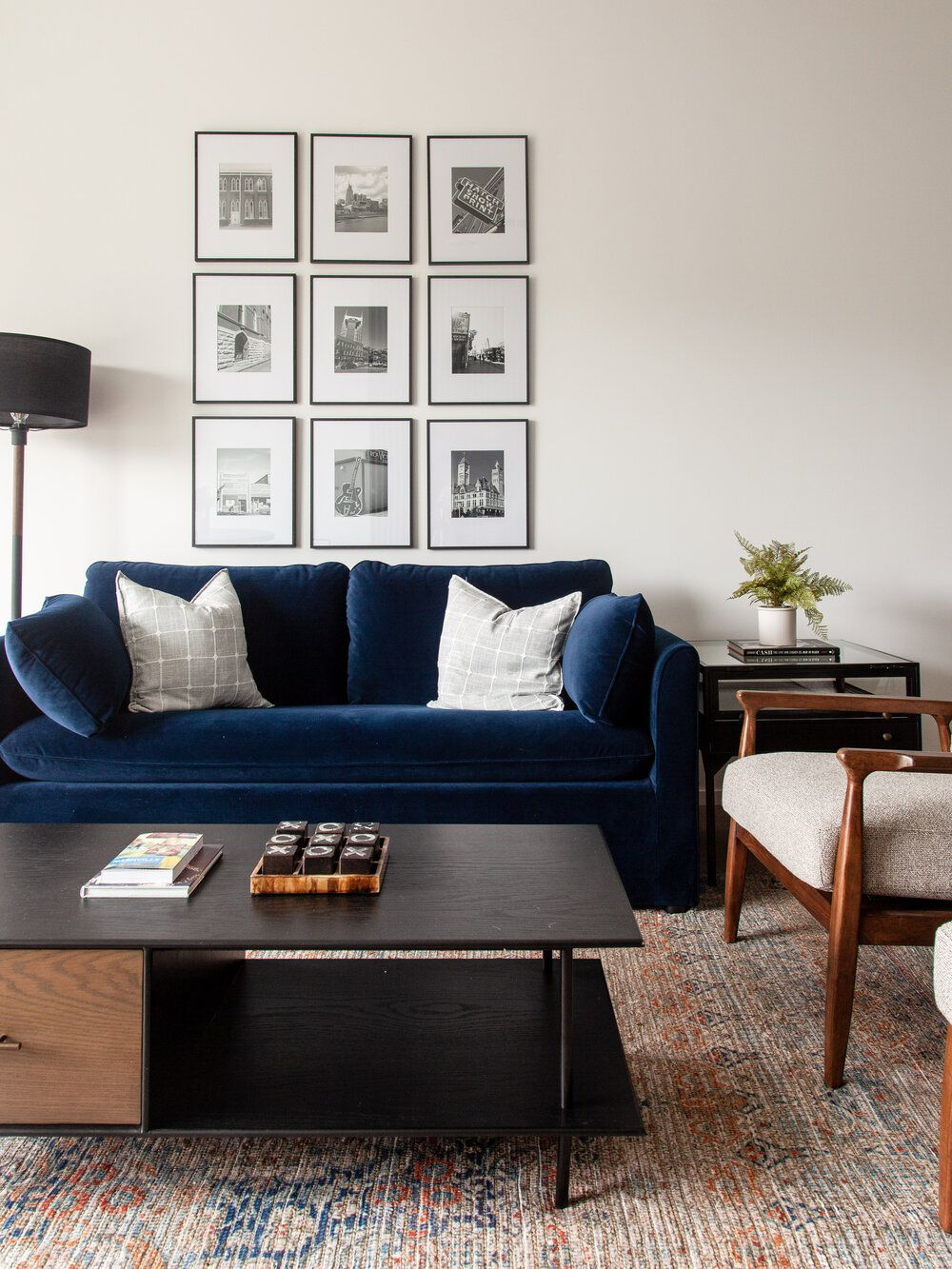 How To Hang A Gallery Wall Blue Sofas Living Room Blue Couch Living Room Blue Velvet Sofa Living Room