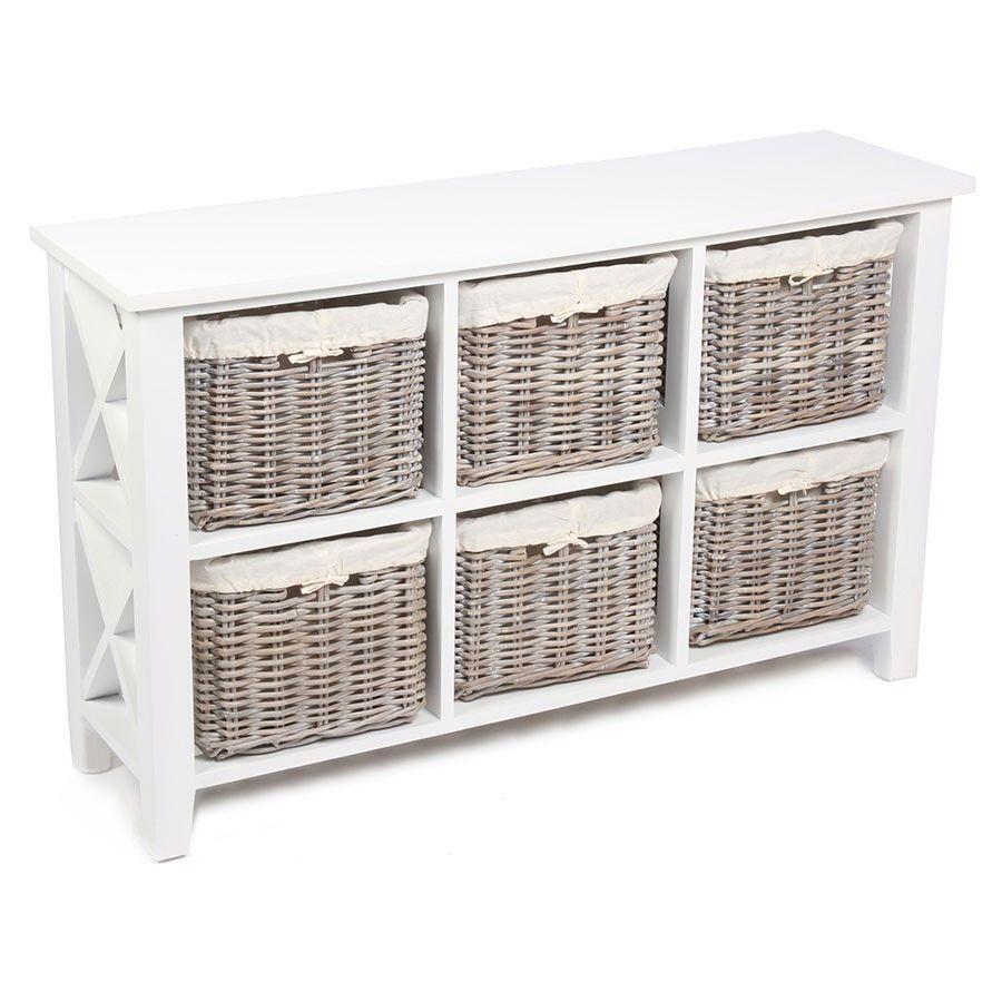 6 Baskets Storage Unit White Colour Wooden Frame Living Room Bedroom  Furniture