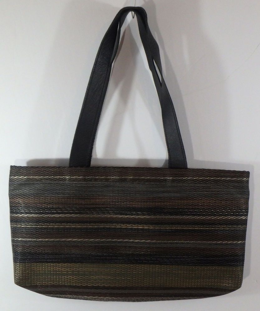 Chilewich East West Tote Bag Purse Brown Black Woven