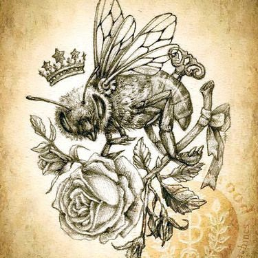 Queen Bee And Rose Tattoo Design Bee Tattoo Steampunk Tattoo Queen Bee Tattoo