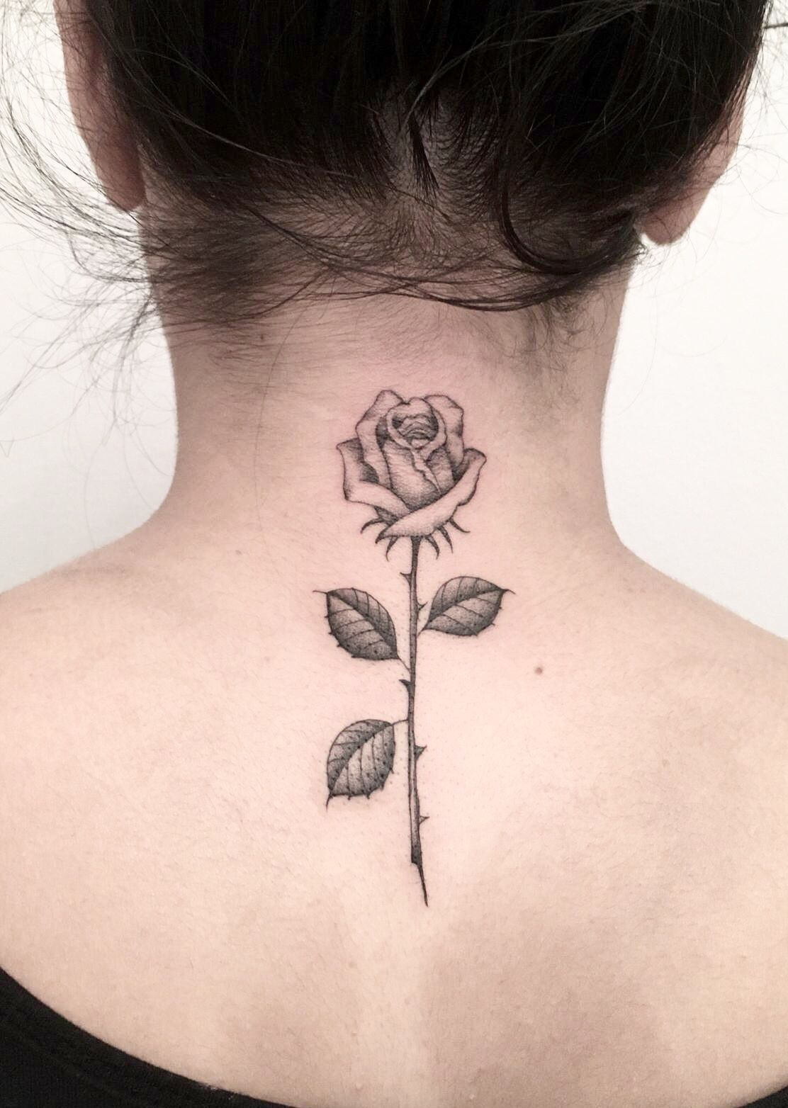 Rose Neck Tattoo Rose Neck Tattoo Neck Tattoos Women Back Of Neck Tattoo