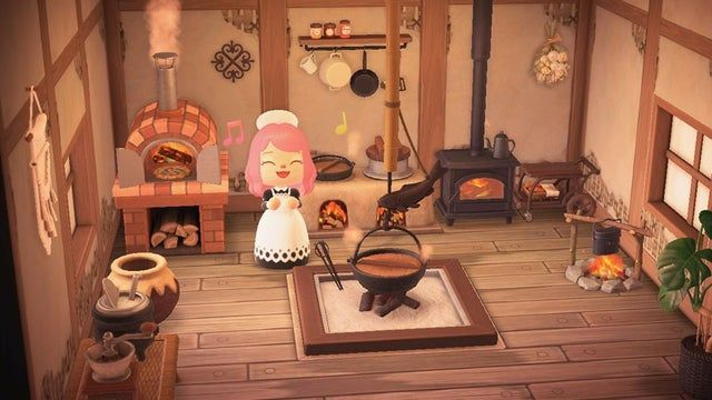 Trying to make a Medieval, Skyrim-style kitchen instead of ... on Animal Crossing Ironwood Kitchen  id=69554