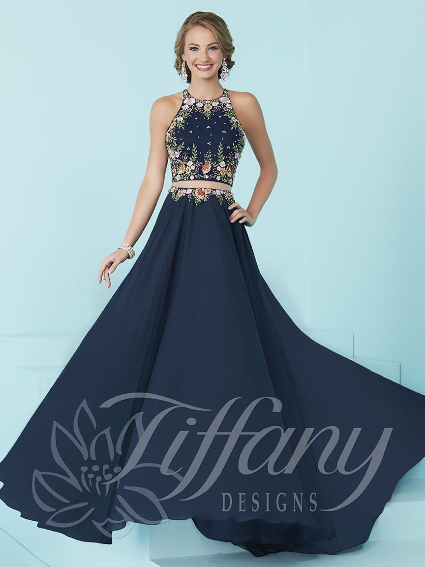 Tiffany Designs 16206 is a two-piece prom dress that flaunts a net ...