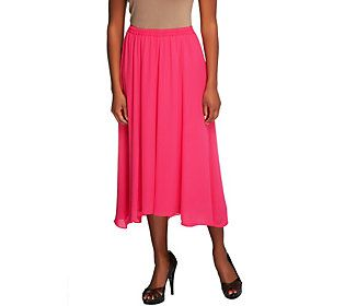 Joan Rivers Georgette Pull-on Skirt with Hi-Low Hem
