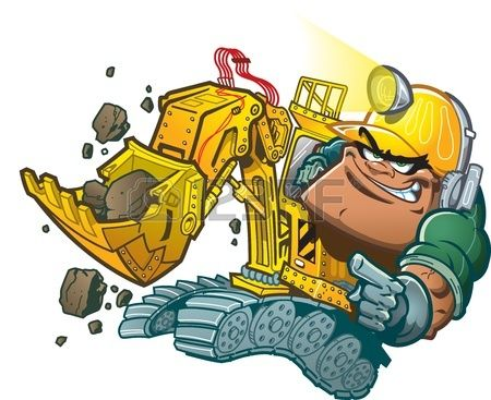 Motorista De Retroescavadeira Dos Desenhos Animados Com Lampada Do Capacete Dibujos Marvel Ilustraciones Dibujos