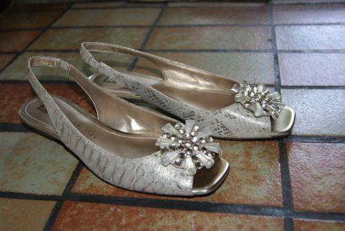 Anne Klein I Flex Sling Back Jeweled Toe Faux Lizard Shoe Size 7 ½ M   eBay