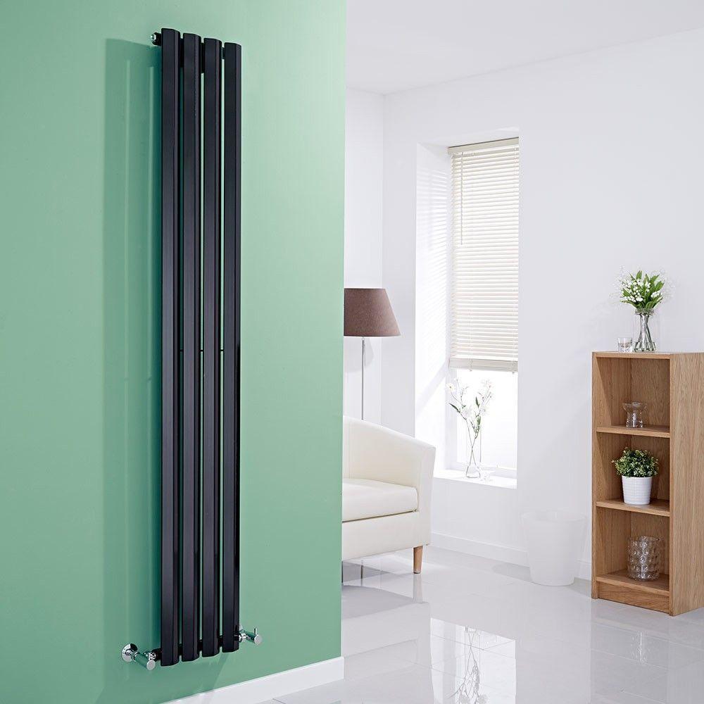 Vertikaler Design Heizkörper Einlagig Schwarz