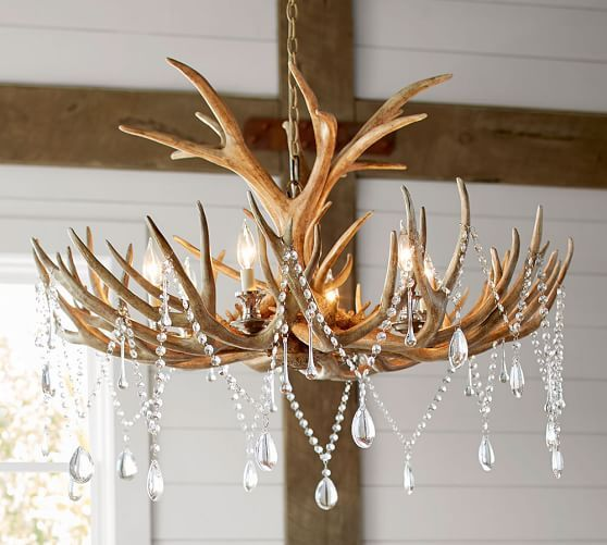 Faux Antler Chandelier Lights