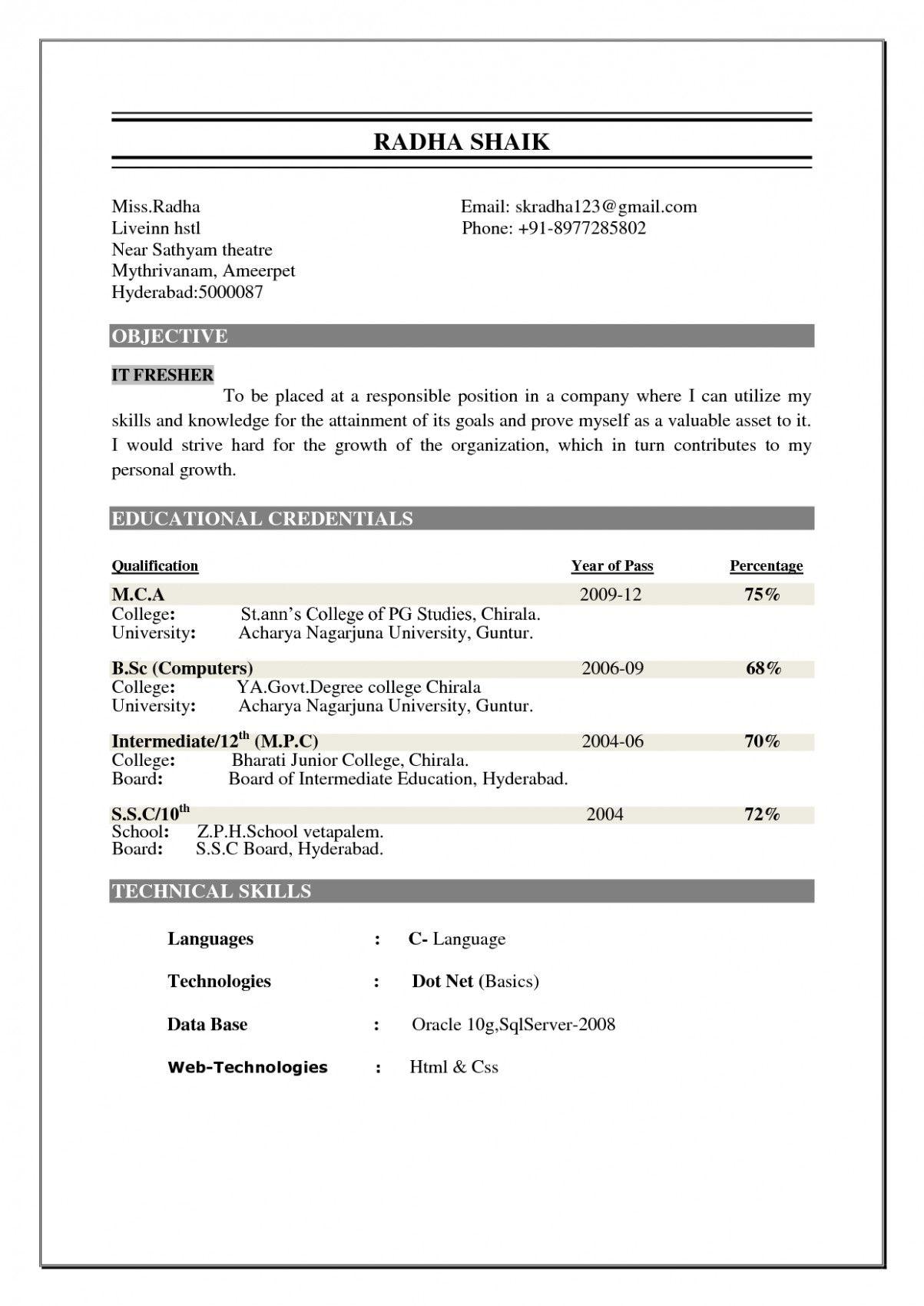 15 Free Obtain Mca More Energizing Resume Format