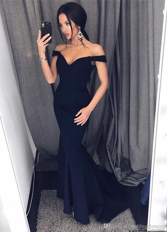Elegant off shoulder mermaid long black prom dress pd us