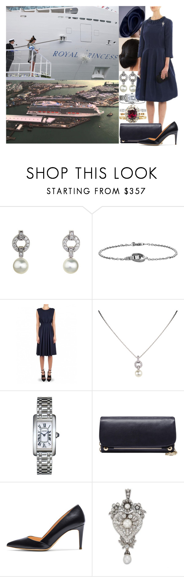 """""""Attending the official naming ceremony of the Majestic Princess at Ocean Dock Terminal, Southampton"""" by marywindsor ❤ liked on Polyvore featuring Cartier, Amanda Wakeley and Rupert Sanderson"""