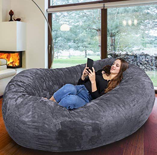 Europe's biggest beanbag - Gigantic Bean Bag Chair in Grey ...