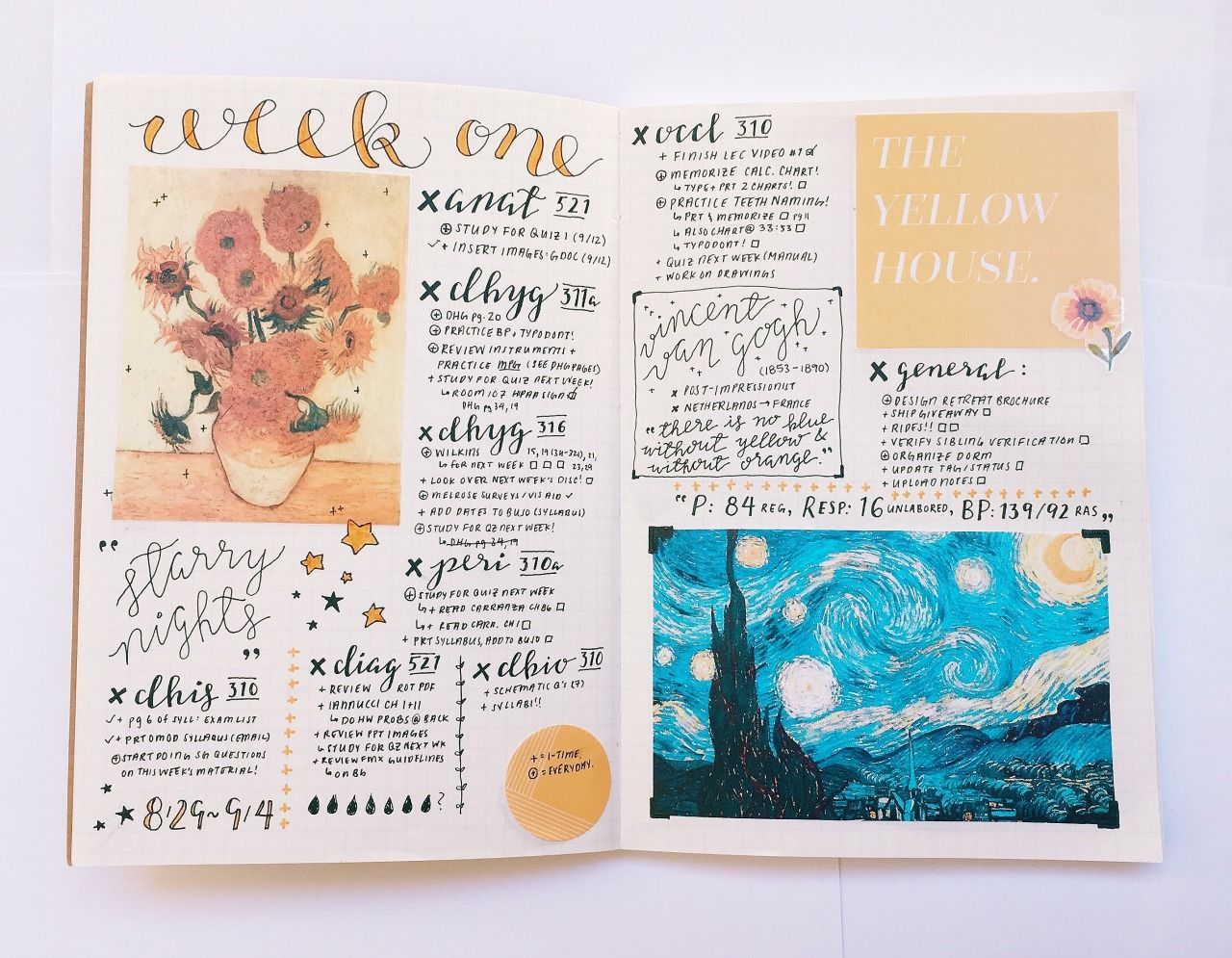 42 100 Days Of Productivity Sat 9 3 16 11 32am Theme Of The Week Vincent Van Gogh September Artist Bullet Journal Inspiration Journal Bullet Journal
