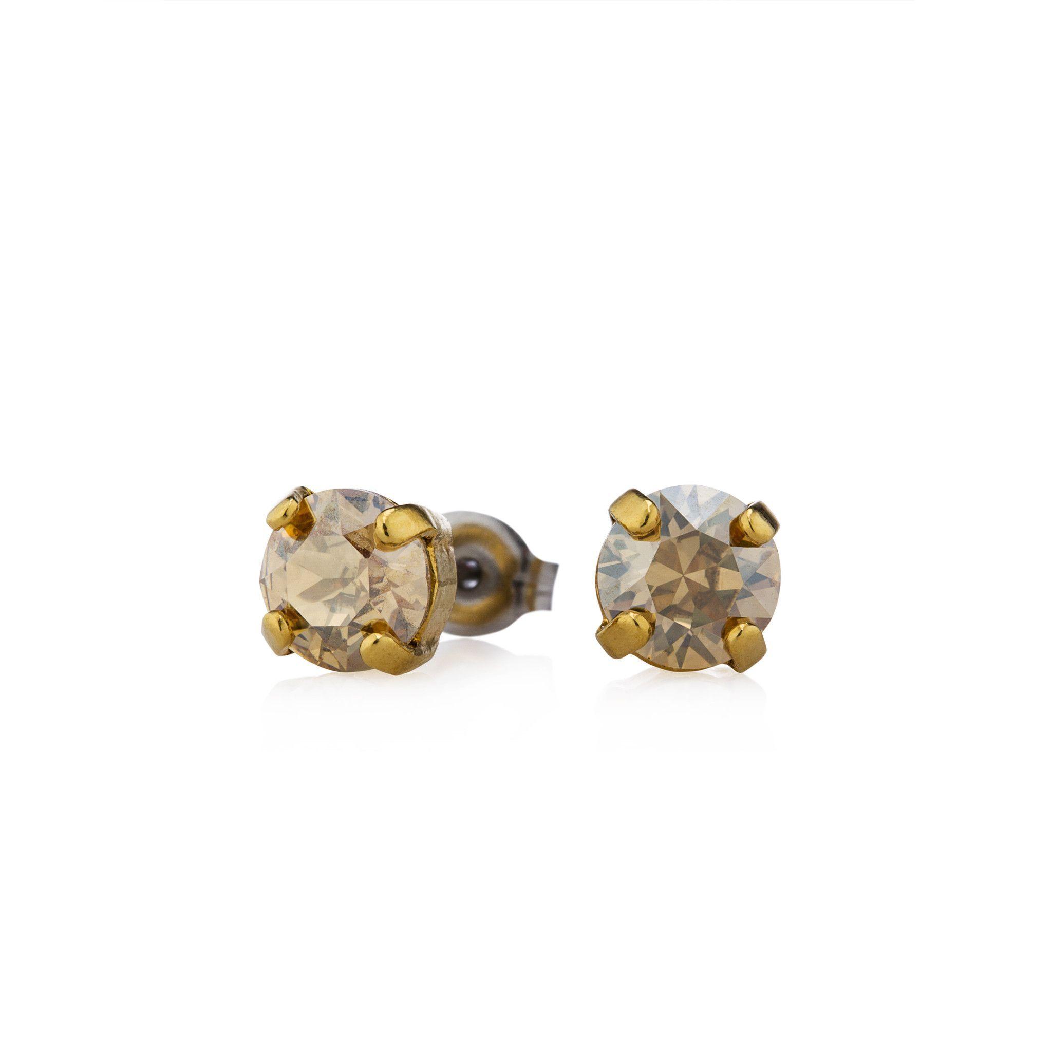 .25 Swarovski Gold Stud Earrings