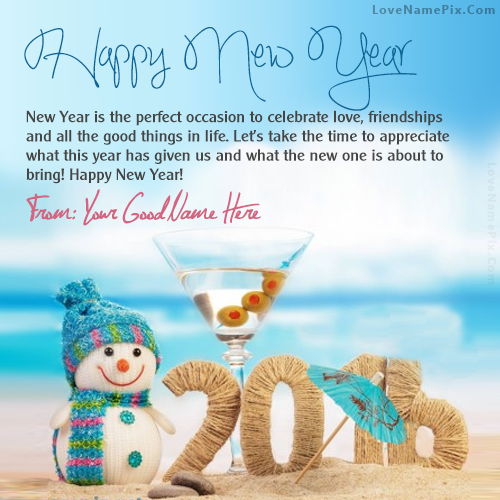 write any name on cute new year wishes image and made some ones or your new year more special by using these unique name new year resolution images also