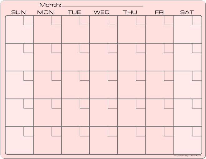 Pink Dry Erase Monthly Calendar X Fridge Magnet   Sf