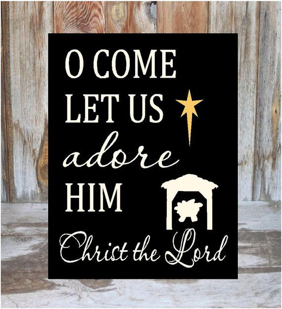 Oh Come Let Us Adore Him Wood Signs Christmas Signs Wood: O Come Let Us Adore Him Holiday Christmas Nativity Wood By