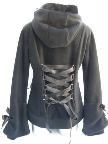 Alice Hoodie  Black polyester hoodie with zip up front pockets on the front  and bow details. Lace up corset design back to tighten. d07663278