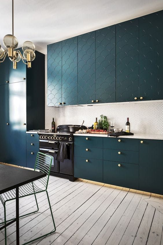 The Kitchen Cabinet Color I M Obsessed With Teal Kitchen Cabinets Kitchen Design Decor Modern Kitchen Design