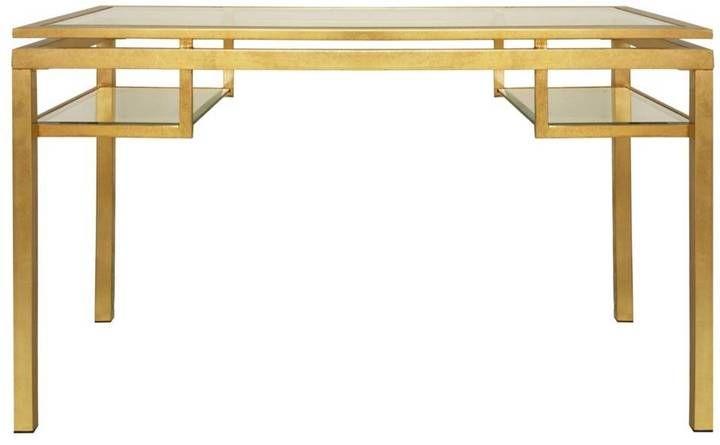 Worlds Away Brentwood Gold Leaf Glass Desk Shopstyle Glass Desk Glass Shelves Decor Glass Shelves Ikea