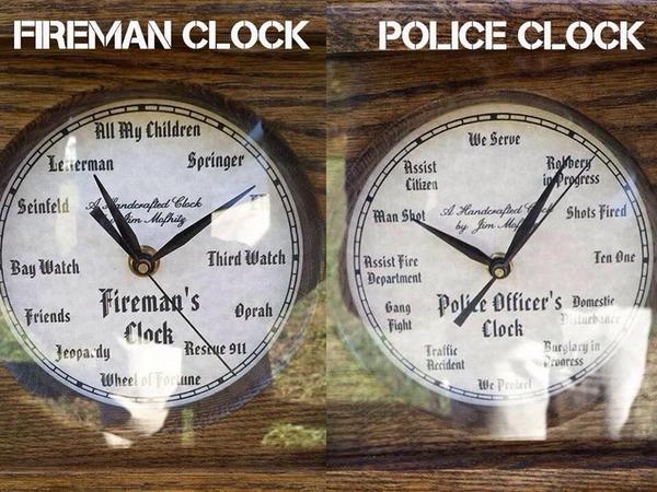 Fireman Clock Vs Cop Clock Bracket Of A Champ Cops