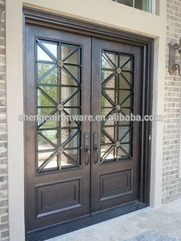 SEN-D055 Modern Style Exterior Double Wrought Iron Entry Door