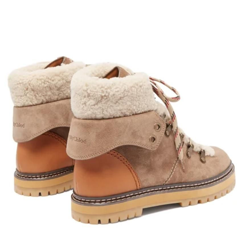 See by Chloe Eileen Shearling Lined Suede Hiker Boot - Trouva