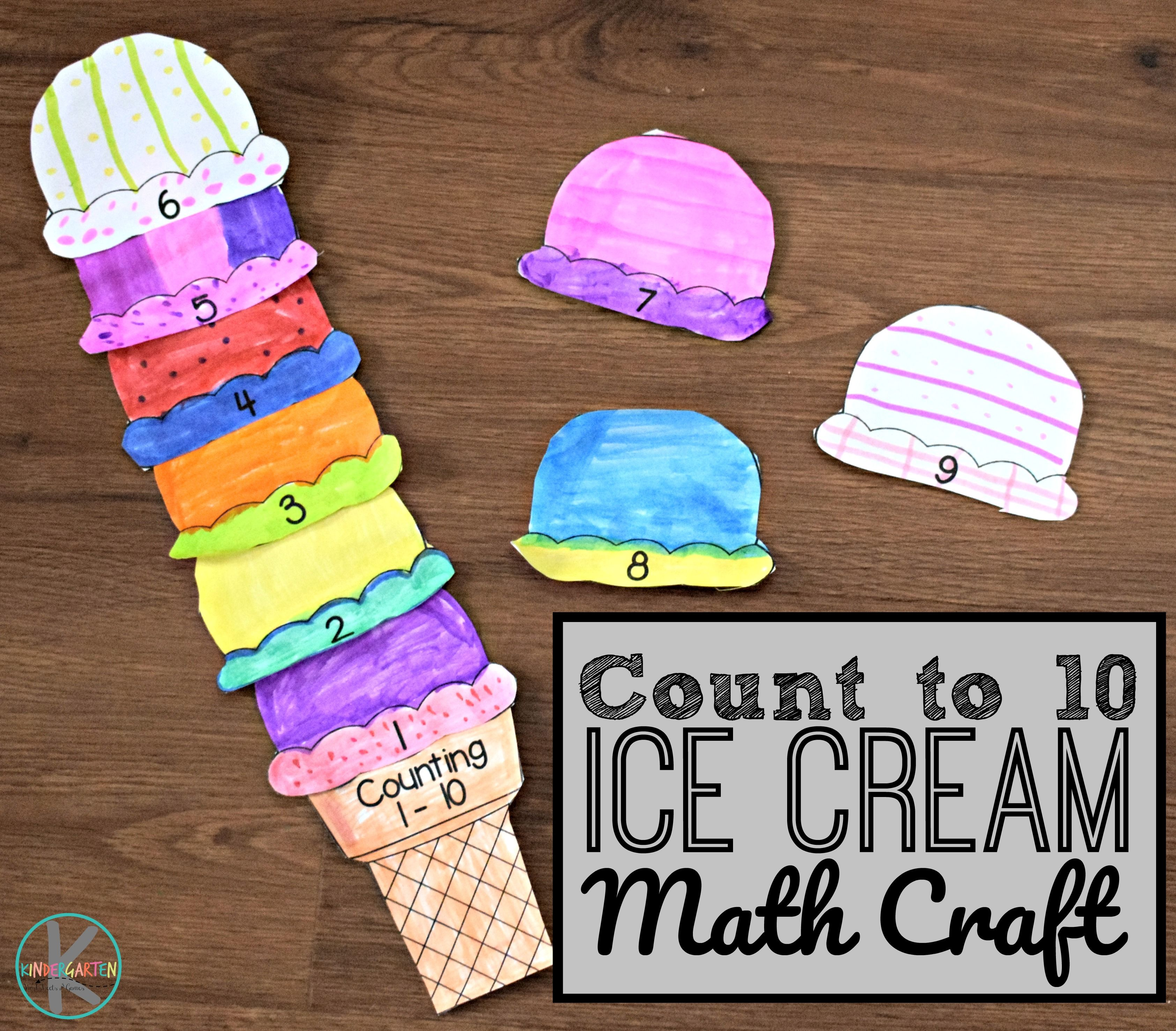 Count To 10 Ice Cream Math Craft Free Printable