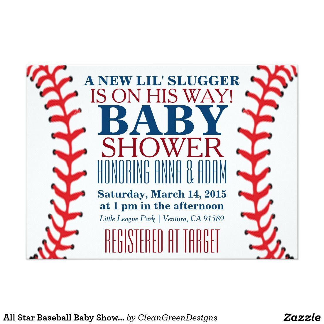 All Star Baseball Baby Shower Invitations | Shower invitations ...