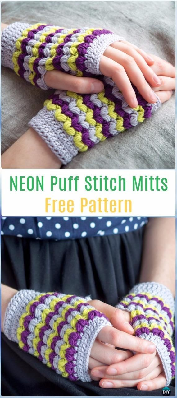 Crochet NEON Puff Stitch Mitts Free Pattern - Crochet Arm Warmer ...