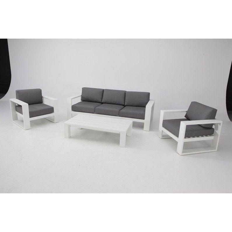 Salon Bas De Jardin Symi Aluminium Blanc 4 Personnes Salon