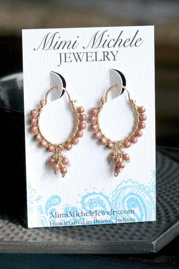 Handmade wire wrapped earrings, hoop earrings, mauve Czech glass ...