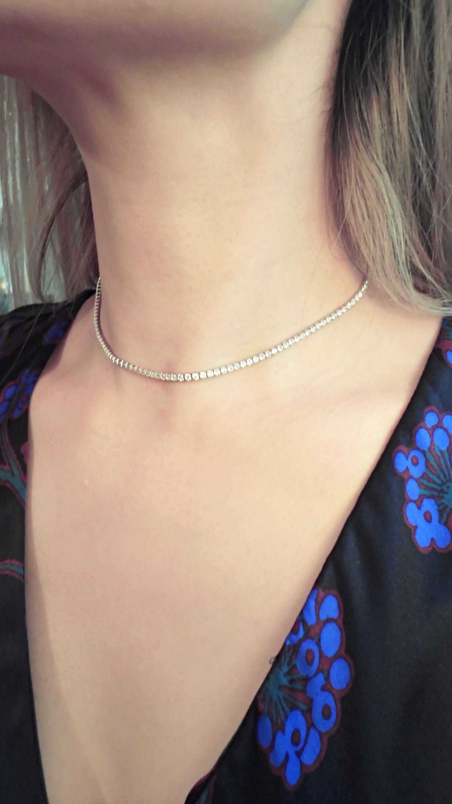 Sterling Silver 925 Tennis Necklace2mm Tennis Chokerthin Etsy Tennis Necklace Necklace For Girlfriend Chocker Necklace