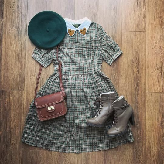 Heart Collar Check Dress