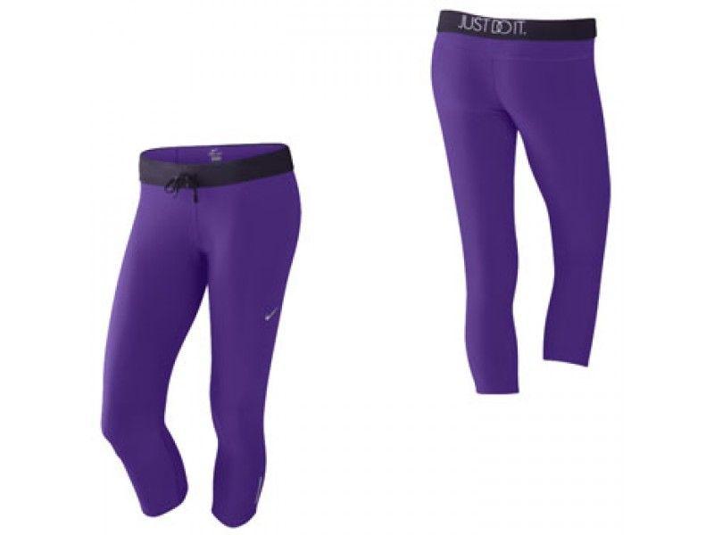 Nike Relays 3/4 Capri Womens Running Tights - Purple