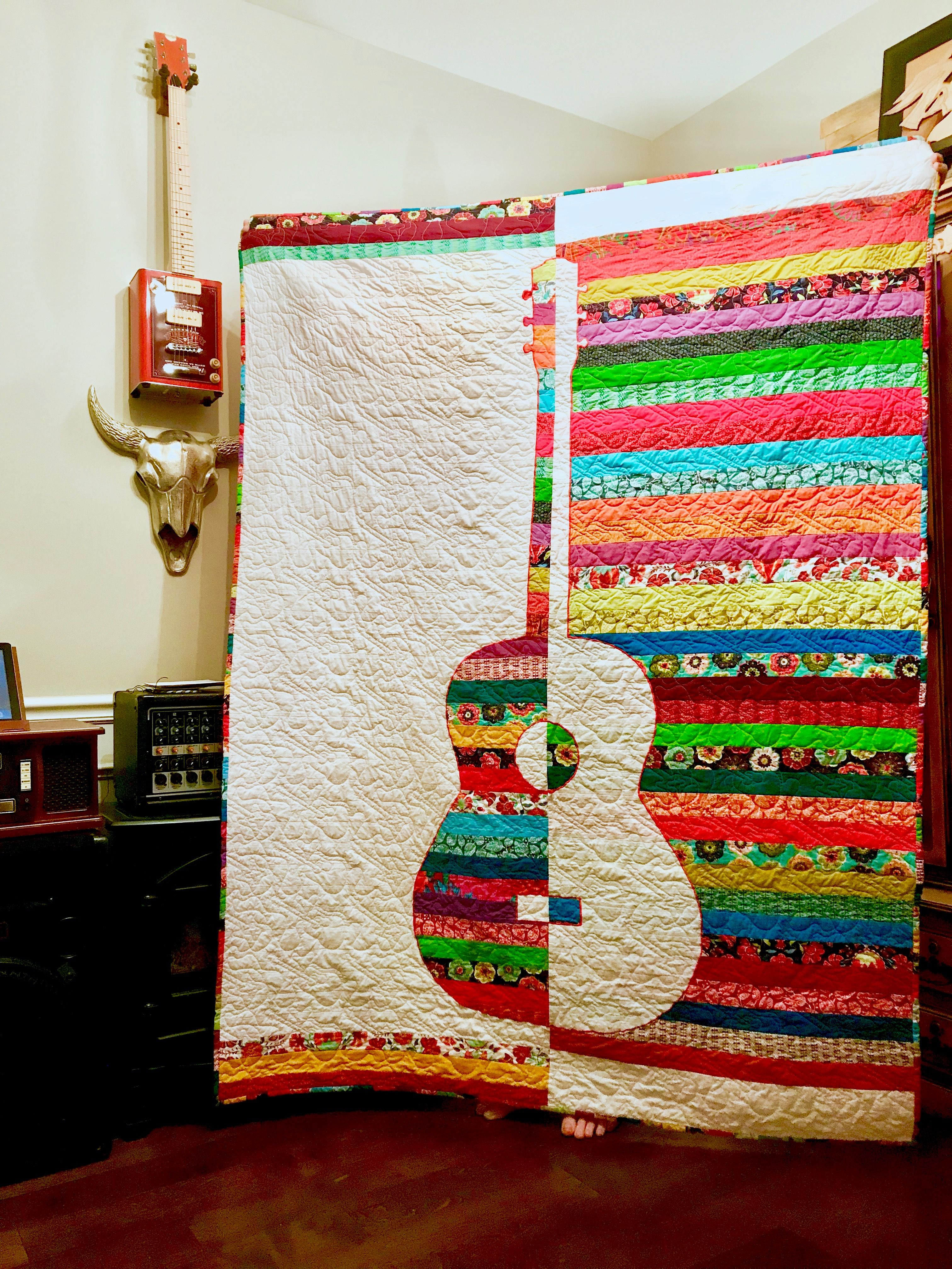 Modern Guitar Quilt Quilts Modern Quilts Quilt Patterns