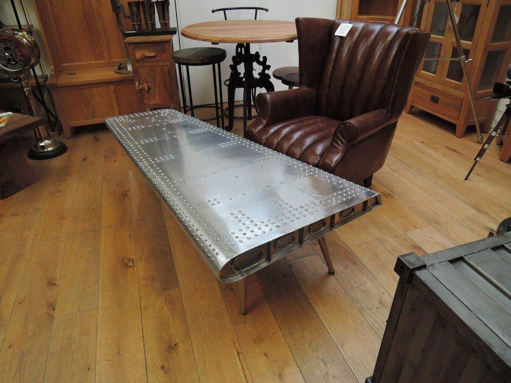 Aviator style stunning aluminium wing coffee table 152cm code
