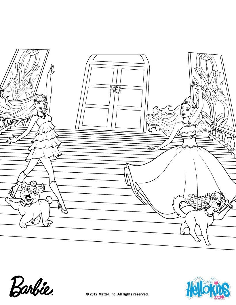 Online coloring book barbie - Ikeira Tori And Their Pets Barbie Coloring Page More Barbie The Princess The