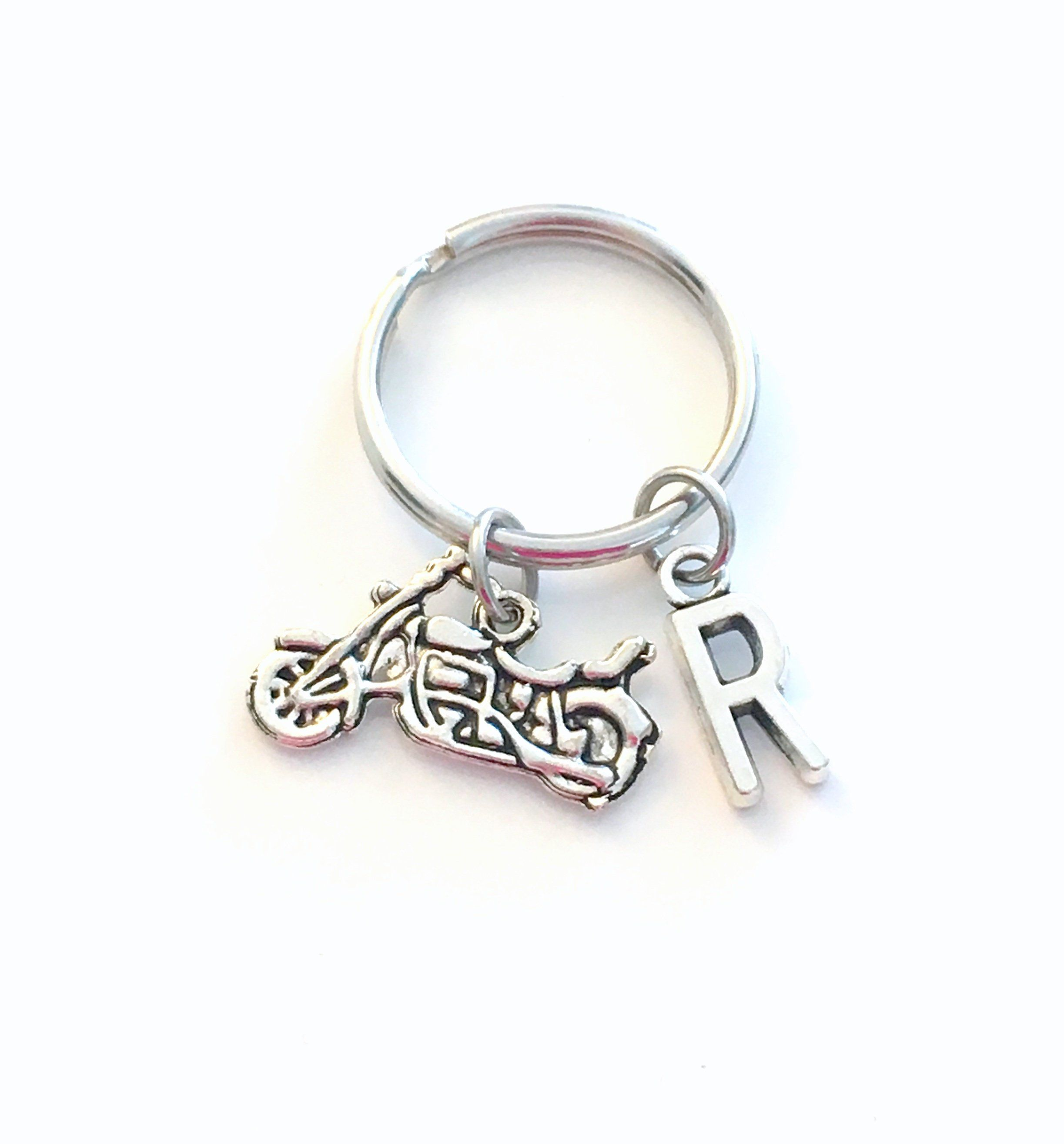 Personalized Motorcycle Keychain Biker Key Chain Silver Auto