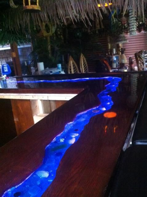 A river runs through it my bar top tiki central for Diy outdoor bar top