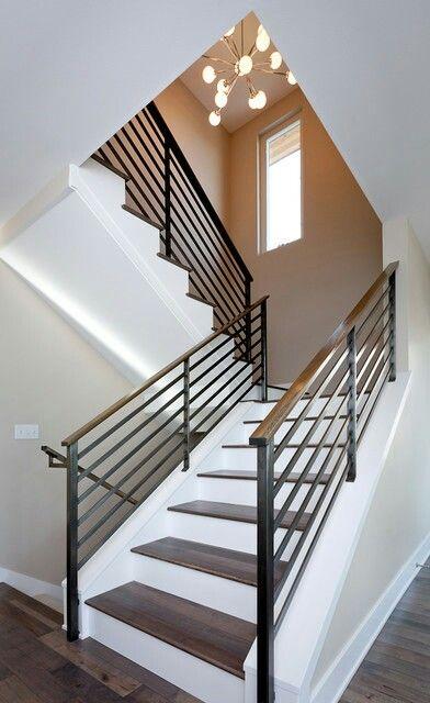 Best Walnut Step Stair Railing Design Modern Stair Railing 640 x 480