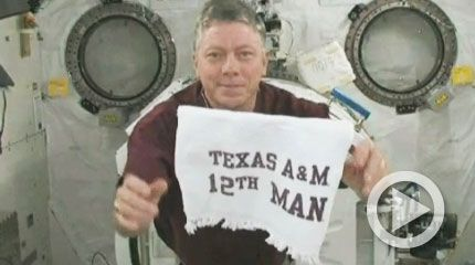 Mike Fossum, Commander of the Expedition 29 crew, proud member of the Texas A & M University Class of 1980! Whoop!!!