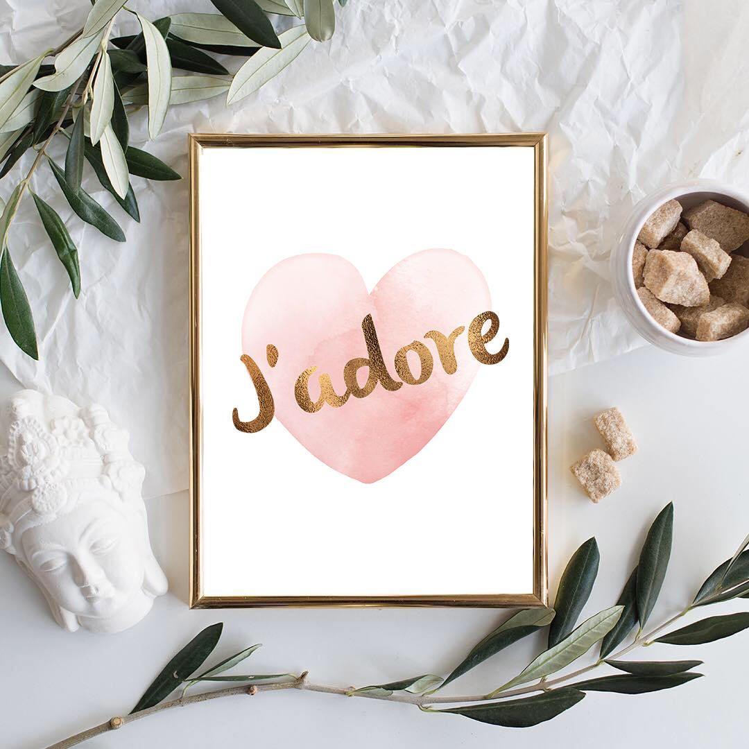 J'adore Print Pink Heart Wall Art Faux Gold Foil Print