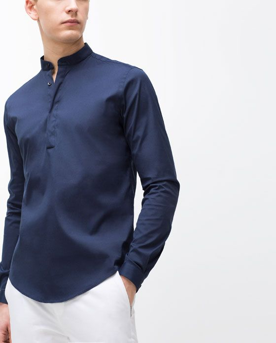 d6d1ba63 MANDARIN COLLAR SHIRT Potential uniform (white pant w/ half collared shirt  for manager) -black instead of blue. Blue could be for managers?