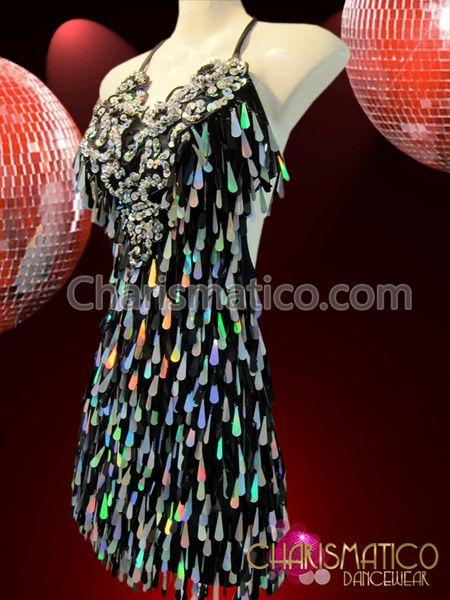 Iridescent silver teardrop sequin fringe accented black Latin dance dress