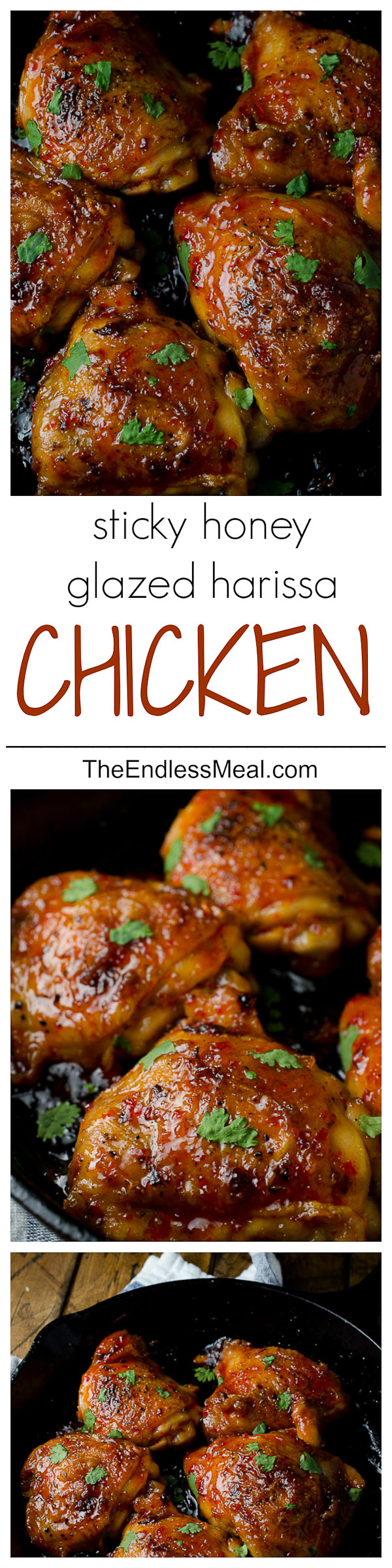 Sticky Harissa Honey Glazed Chicken SAVE FOR LATER! This Sticky Harissa Honey Glazed Chicken is the most delicious honey glazed chicken ever. The sweet and sticky sauce is spiced with harissa, a North African paste that is super flavourful. It will be a huge hit with your whole family!