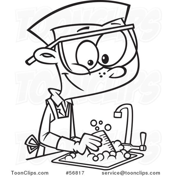 Cartoon Outline School Boy Cleaning up in a Science Lab