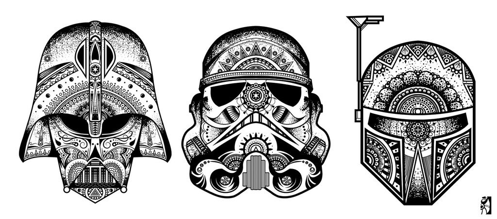 StarWars Mandalas - Vader, Boba, And A Stormtrooper! - XPost From /r/ StarWars : Pics Star Wars Tattoo, Star Wars Images, Mandala