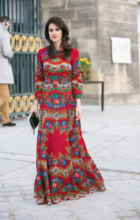 2020 Uzun Basma Elbiseler Gunluk Kirmizi Uzun Bisiklet Yaka Uzun Kollu Desenli Elbiseler Elbise Elbise Modelleri