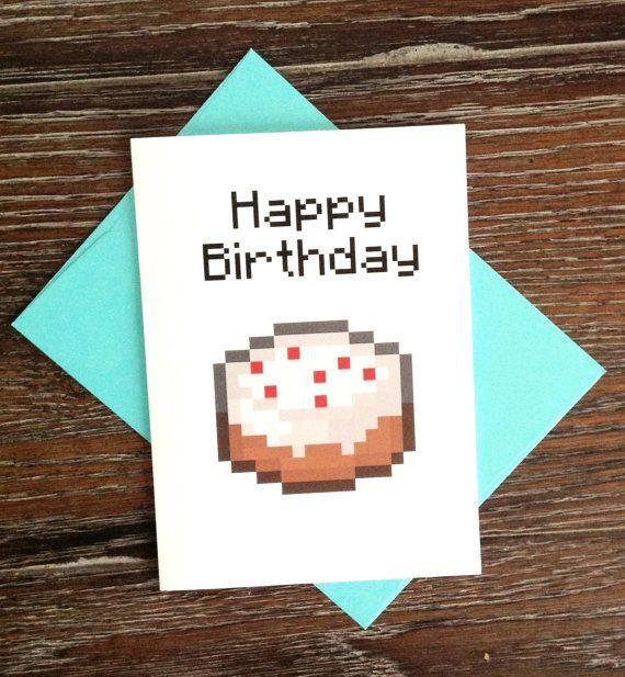 Minecraft Birthday Cake Card Minecraft Birthday Card Minecraft Birthday Birthday Card Printable